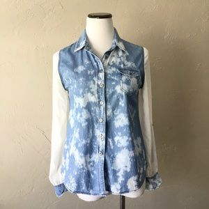 COPY - Blu pepper denim tie dye button down top